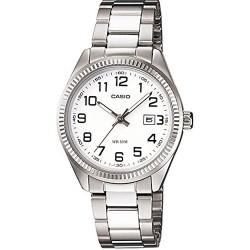 ساعة للنساء من كاسيو بمينا بيضاء، وسوار من الستانلس ستيل - LTP-1302D-7B