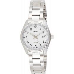 ساعة كوارتز للنساء من كاسيو، عرض انالوج وسوار من الستانلس ستيل